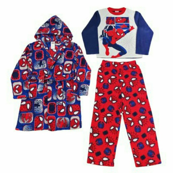b612596ede Boys Spiderman 3-Piece Fleece Pj Set with Robe